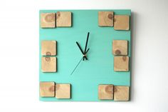 Items similar to Wood wall clock 'Deco Astral' / Geometric mosaic / Turquoise clock painting on Etsy Clock Painting, Animal Silhouette, Wood Clocks, Wood Pieces, Acrylic Colors, Online Gallery, Color Pallets, Cozy House, Wood Paneling