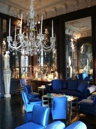 Thomas Britt: his living room--he says he has a bunch of these blue slipper chairs in it with black floors--plus Mirrors and chandeliers--wow! Luxury Rooms, Luxury Decor, Luxury Living, Mirrors And Chandeliers, Interior And Exterior, Interior Design, Pretty Room, Blue Rooms, Beautiful Living Rooms