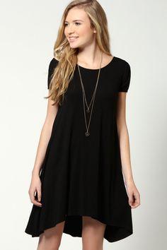 Selma Cap Sleeve Jersey Swing Dress at boohoo.com