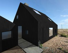 A new house on the shingle in Dungeness « Rodic Davidson Architects London Architects London, Studio Build, Black House Exterior, House Ideas, Small House Design, Cabins In The Woods, House Front, Log Homes, House Painting