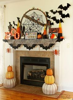 Halloween Mantel Decor: Pumpkins and Spiders and Bats! Oh My!