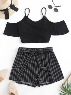 Crop Cami Top and Striped Belted Shorts Set Womens Fashion Teenage Outfits, Cute Girl Outfits, Cute Casual Outfits, Outfits For Teens, Summer Outfits, Girls Fashion Clothes, Teen Fashion Outfits, Cute Fashion, Girl Fashion