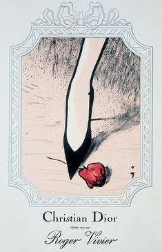 Roger Vivier sera le Seul à qui Dior Permettra d'Accoler son Nom au Sien - Publicité Vintage - René Gruau - 1953