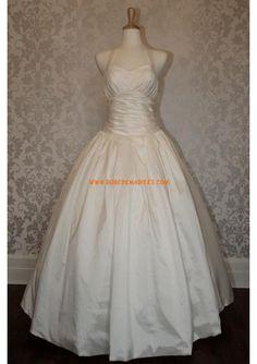 Robe de mariée princesse en taffetas bretelles tulle