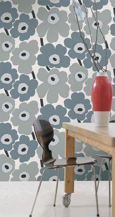Unikko Gray Wallpaper from Marimekko modern wallpaper