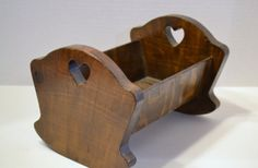Vintage Wooden Doll Cradle Handmade Brown by PanchosPorch on Etsy, $17.50