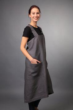 Pinafore. Linen Square-Cross Apron. No-ties Apron. Japanese style Apron. Large apron. Organic 100% linen / pinafore pattern