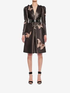 Lambskin moth embroidered dress.