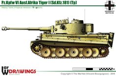 E Tiger (mid production model) Afrika Korps, War Thunder, Tiger Tank, Engin, Ww2 Tanks, German Army, Military Art, Armored Vehicles, War Machine