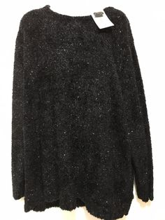 Maggie McNaughton Black Silver Sparkly Crewneck Pullover Sweater Womens 3X NEW #MaggieMcNaughton #Crewneck