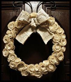 burlap craft ideas | Burlap Wedding Bouquet Wrap Cream and Lace by rosebudlipsbridal, $32 ...
