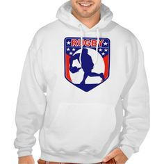 rugby passing front view ball shield hoody. retro style illustration of a rugby player passing ball viewed from front with shield and star in background. #illustration #rugby #rwc #rwc2015 #rugbyworldcup