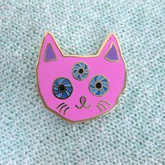 Pink Cat Pin - £9.99  https://www.etsy.com/uk/listing/240289375/pink-cat-pin?ref=shop_home_feat_1