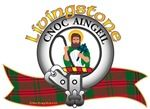 """Livingstone Clan Tartan and Crest the Motto is """"CNOC AINGEIL"""", translated as """"Hill of Fire"""". Chief: Niall Livingstone of Bachuil Livingstone Clan Crest """"A demi-man representing the figure of Saint Moluag Proper, his head ensigned of a circle of glory Or, having about his shoulders a cloak Vert, holding in his dexter hand the great Staff of Saint Moluag Proper and in his sinister hand a cross crosslet fitchée Azure """". MacRory Mor"""