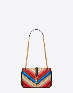 SAINT LAURENT CLASSIC MEDIUM MONOGRAM SAINT LAURENT SATCHEL IN MULTICOLOR MATELASSÉ METALLIC LEATHER AND BLACK LEATHER | YSL.COM
