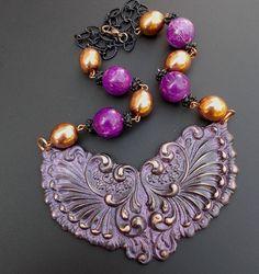 Runway Necklace Big Bold Chunky Vintage Purple Black by LilisGems