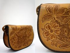 Gorgeous Vintage Hand Tooled Leather Shoulder Purse by ELOFSON