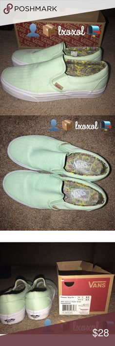 Slip-On Vans 🗣 Can be bought cheaper on mercariiiii ⚠️⚠️    Pastel Green Slip-On Vans:   Size 9.5 in WOMEN / 8.0 in MEN They've been worn less than a handful of times.  Comes from a PET/SMOKE FREE HOME.  Minor scuffs on bottom of shoe but can easily be cleaned off.   Majority of my items have been worn less than a handful of times (shopping addiction much? lol) so don't forget to check out my closet & B U N D L E!   Feel FREE to ask questions about my items! Serious Inquires ONLY! Vans…