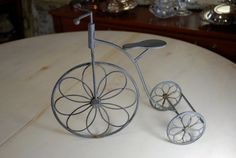 Vintage Wire Bicycle Figurine- Tricycle-Lovely Piece- worn metal- Big front tire- Two small tires