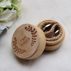 Personalized Round Wedding Wooden Ring Box Ring Bearer Rustic Wedding Ring Box Holder