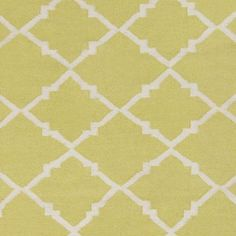 Art of Knot Prichard Hand Woven Gate Scroll Flatweave Wool Area Rug, Lime, White