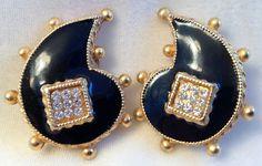 Vintage Gerard Yosca Black Enamel Gold Tone Crystal Paisley Clip On Earrings #GerardYosca #Statement