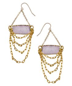 Mickey Lynn Druzy & Gold Chain Chandelier Earrings