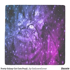 Shop Pretty Galaxy Cat Cute Purple Blue Stars Ombre Stone Coaster created by CatLoversCorner. Cat Lover Gifts, Cat Gifts, Cat Lovers, Ombre Color, Blue Ombre, Purple, Cute Coasters, Stone Coasters, Galaxy Cat