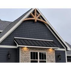 We proudly offer the Ekena Millwork Alberta Rustic Timber Gable Bracket Rustic Exterior, Modern Farmhouse Exterior, Exterior Siding, Exterior Design, Rustic Home Exteriors, House Exteriors, Gable Trim, Gable Roof, Front Porch Design