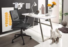 Biurko lakier matowy ADRIA White Desk Metal Legs, Passe Cable, Home Office Design, Office Furniture, Designer, Decoration, Loft, Fibres, Home Decor