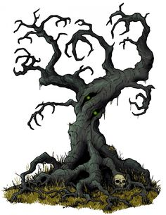 Stock Art: Evil Tree - A 300 dpi picture of an evil tree for you to use for your personal or professional projects. Haunted Tree, Spooky Trees, Forest Drawing, Forest Art, Tree Monster, Diorama, Forest Tattoos, Dark Tree, Halloween Artwork