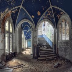 I don't know why, but I always find the abandoned castles the most beautiful.  Abandoned Castle - Belgium by kleiner hobbit, via Flickr