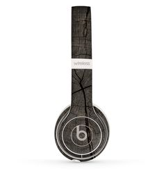 The Dark Cracked Wood Stump Skin Set for the Beats by Dre Solo 2 Wireless Headphones from DesignSkinz