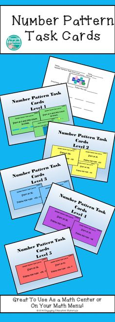Here's a fun way to have your students practice skip counting and number patterns in your classroom! These number pattern task cards have been differentiated for all levels of learners, beginner to advanced!  I love using these as a math center or on a math menu choice board!