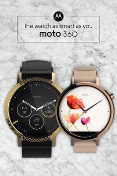 Featuring quality materials and customizable his and hers face options, this smartwatch strikes a balance between great technology and stunning style. The Moto 360 is designed exclusively by you with Moto Maker, our online design studio. The possibilities are endless—click to start designing your own today.