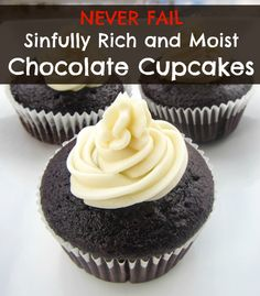 One Bowl Never Fail Rich and Moist Chocolate Cupcakes This easy and moist one bowl chocolate cupcake recipe is our favorite! It's our go to for kids birthday parties, school events, and any time we're craving a dose of chocolate. Köstliche Desserts, Delicious Desserts, Dessert Recipes, Yummy Food, French Desserts, Plated Desserts, Vegetarian Chocolate, Chocolate Recipes, Chocolate Chocolate