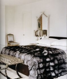 thedecorista:  some just have a way with fur…  yeee-aaay! so luxe. I think this is Reed Krakoff's bedroom