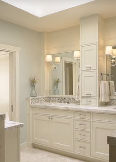 White Bathroom always look clean and fresh. Get rid of the tower on the counter...