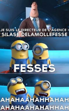 """Quotes for Fun QUOTATION - Image : As the quote says - Description minions """"fesse"""" Sharing is love, sharing is everything Minion Humour, Minion S, Minion Movie, Minions 2014, Funny Minion Pictures, Funny Images, Johnlock, Destiel, Image Minions"""