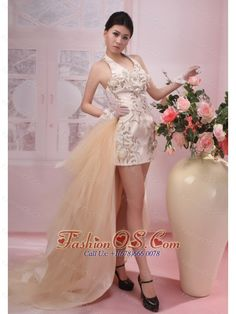 Handle-Made Flowers Halter Prom Dress Watteau Champagne Taffeta and Tulle Column / Sheath- $145.29  http://pinterest.com/fashionos/  http://www.youtube.com/user/fashionoscom?feature=mhee  Do you want to be the star in your prom? Join us now. You will be the most attractive one when you wear this stunning taffeta prom dress. Halter bodice features the all-over hand-made flowers and the exquisite appliques. The cute tulle train detached from the waist to the floor.