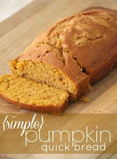 Pumpkin Quick Bread ~ dump it all in a bowl, mix and bake. Doesn't get much easier than this, and makes your home kitchen smell divine!