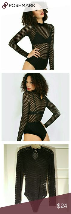 JUST IN: Long Sleeved Bodysuit NWOT Please order according to measurements. Would best fit a dress size 8 0r 10.   ONLY 2 AVAILABLE.   Sexy see through long sleeved bodysuit. Has snap fasteners in crotch area and keyhole design on back. Fabric is soft and stretchy. Material is 100% polyester. Measurements taken laying flat, unstretched.  Armpit: 15.5 in/ Sleeve: 25 in/ waist 12 in/ shoulder to hip length: 22.5 in/ total length; shoulder to crotch: 30 in. Other