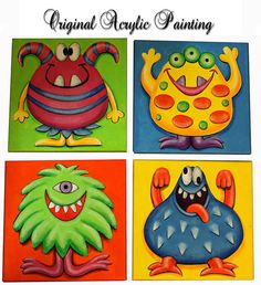 Nursery Art, original painting, monster, acrylic painting on canvas ready to hang, children art. Painting For Kids, Art For Kids, Theme Halloween, October Art, Manualidades Halloween, Kids Canvas, Cute Monsters, Monster Art, Art Party