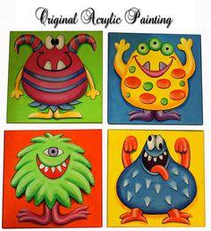 Nursery Art, original painting, monster, acrylic painting on canvas ready to hang, children art. kids room