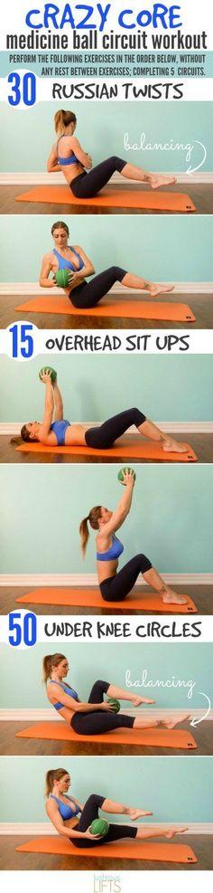 Crazy Core Medicine Ball Circuit Workout || Lushious Lifts