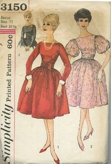 An original ca. 1960's Simplicity Pattern 3150.  Dress has bateau front neckline, full gathered skirt and self fabric belt.  V. 1 features long set-in sleeves with self fabric rounded cuffs and contrasting detachable cuffs.  V. 2 features full puff sleeves and a V shaped back neckline.