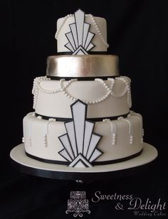 Vintage Art Deco Gatsby wedding cake with edible silver leaf