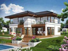 Вопрос 7. Если выбирать из двухэтажных домов, то дом моей мечты - на картинке. Для меня важно, чтобы был большой двор, сад, бассейн, пусть лучше дом будет меньше, но снаружи - достаточно места.