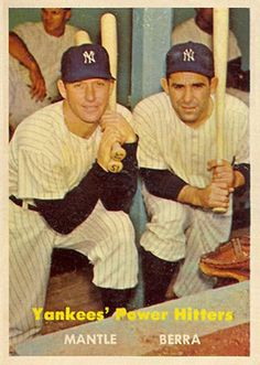 Mickey Mantle / Yogi Berra 1957 Topps Baseball (Yankees' Power Hitters) Reprint Card (Last Catd in set) (New York): Mickey Mantle / Yogi Berra 1957 Topps Baseball (Yankees' Power Hitters) Reprint Card (Last Catd in set) Baseball Card Values, Baseball Star, Baseball Photos, Sports Baseball, Baseball Players, Baseball Cards, Go Yankees, New York Yankees, Equipo Milwaukee Brewers