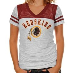 72ed09df1 Touch by Alyssa Milano Washington Redskins Ladies The Coop Football Premium  Burnout V-Neck T-Shirt - White Burgundy